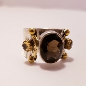 {925} Natural smoky topaz & sterling silver ring
